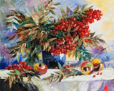 Картина Натюрморт с рябиной и яблоками