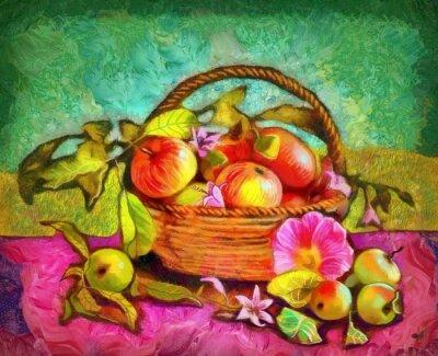 Картина натюрморт с яблоками