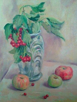 Картина Натюрморт с букетом и фруктами. Яблоки и красная смородина. живопись масляными красками