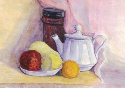 Картина Натюрморт с фруктами и чайником. Груша, лимон, мандарин на тарелку. Акварельная живопись