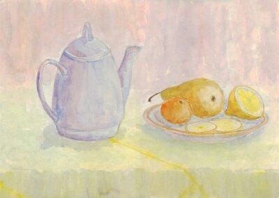 Картина Натюрморт с чайником и фруктами. Груша, лимон, мандарин на тарелку. Акварельная живопись