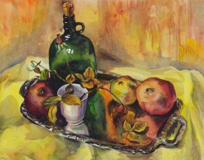 Картина Натюрморт с розами, гранаты и бутылки вина на подносе. Акварельная живопись
