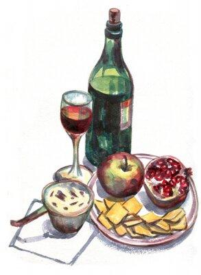 Картина Натюрморт с вином и фруктами. Акварельная живопись