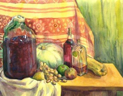 Картина Натюрморт с вином, фруктами и овощами. Акварельная живопись