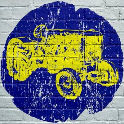 Картина Уличное искусство. Тракторный абрикосовый гранж