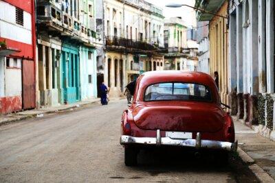 Картина Уличная сцена с марочное автомобиля в Гаване, Куба