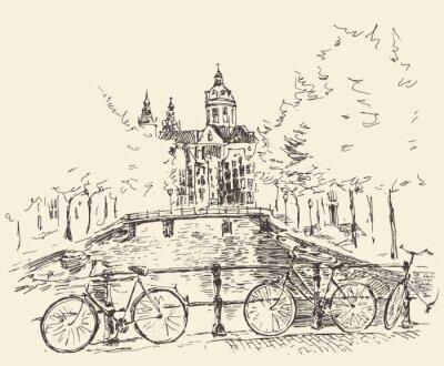 Картина Улицы в городе Амстердам, векторные иллюстрации