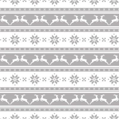 Картина Полосатый рождественские шаблон с оленями. Вектор бесшовные фон