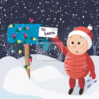 Стильный и яркий С Рождеством и Новым Годом открытка в векторе. Смешные и улыбающиеся мальчики отправить письмо Санта ночью в снегу. Зимний праздник фон.