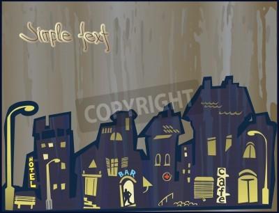 Картина Стилизованный город. Проникновение атрибутов современности в историческом центре