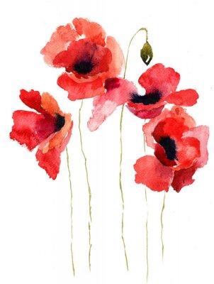 Картина Стилизованный мак цветы иллюстрация