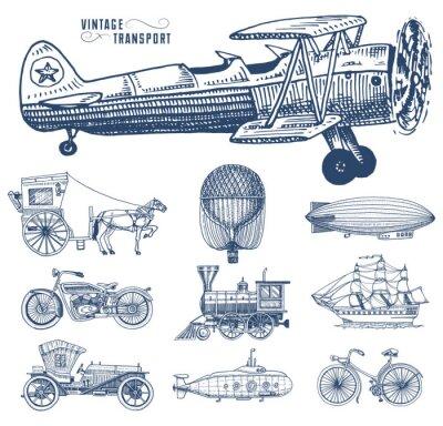 Картина Подводная лодка, лодка и автомобиль, мотоцикл, конный экипаж. Дирижабль или дирижабль, воздушный шар, кукуруза самолетов, локомотив. Выгравированная ручная работа в стиле старого эскиза, старинный пас