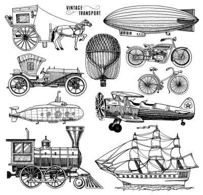 Картина Подводная лодка, лодка и автомобиль, мотоцикл, конный экипаж. Дирижабль или дирижабль, воздушный шар, кукуруза самолетов, локомотив. Выгравированная рука, нарисованная в старом эскизном стиле, старинн