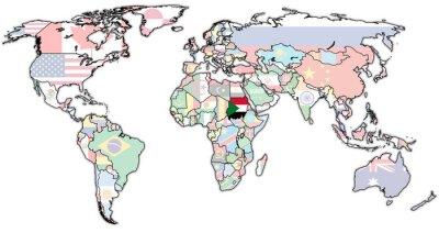 Картина Sudan территория на карте мира