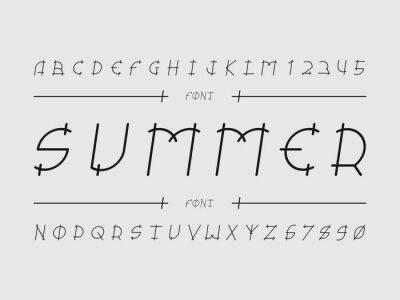 Summer font. Vector alphabet