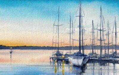 Картина Летний пейзаж с парусными лодками в заливе.