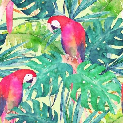 Картина Летний бесшовные модели с акварель попугай, пальмовые листья. Красочная иллюстрация