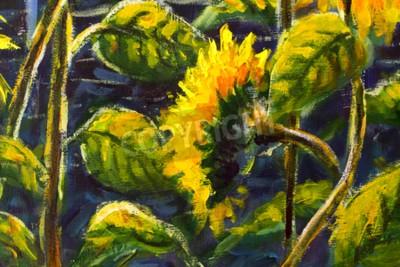 Картина sunflowers in sun Original oil painting of sunflower flowers, beautiful sunflowers flowers on canvas. Modern Impressionism.Impasto artwork.