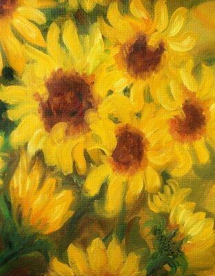 Картина Солнечные Подсолнухи Картина маслом на холсте.