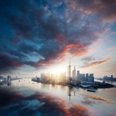 Картина восход город