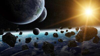 Картина Восход солнца над группой планет в космосе