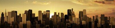 Картина Восход-закат панорама города / 3D визуализации современного города в восхода или заката