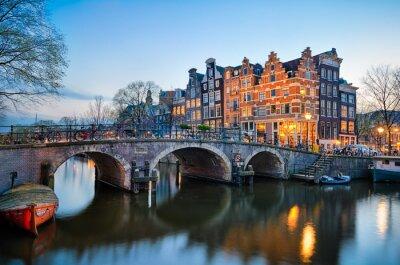 Картина Закат в Амстердам, Нидерланды