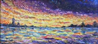 Картина закат над озером, картина маслом