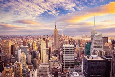 Картина Вид на закат от Нью-Йорка, оглядываясь на центре Манхэттена