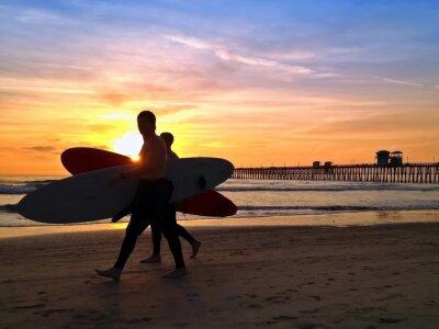 Картина Surfers Закат Морское Pier Beach Сан-Диего Калифорния США
