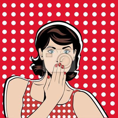 Удивите женщина сюрприз радость положительное мнение эмоции. Поп-арт векторные иллюстрации. Урожай рекламный плакат.