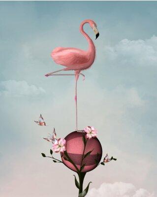 Картина Сюрреалистическая композиция с фламинго и цветами