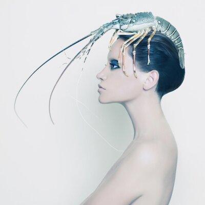 Картина Сюрреалистический леди с омаром на голове