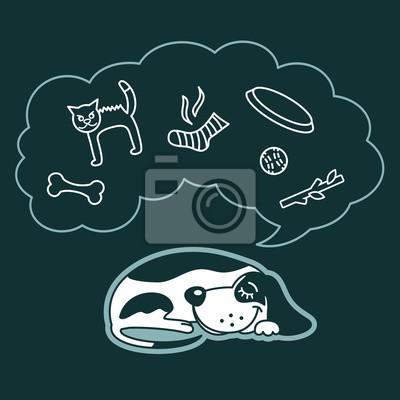 Сладкий мультфильм собака спит и мечтает о его любимых игрушек.