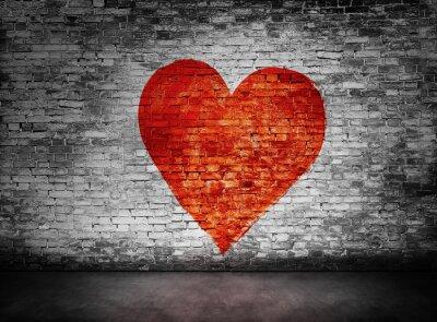 Картина Символ любви нарисованы на мутную кирпичной стене