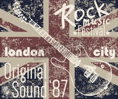 Картина Футболка Полиграфический дизайн, графика графики, Лондон Рок-фестиваль векторные иллюстрации с гранж флаг и рисованной эскиз гитары Значок аппликационной этикетки.