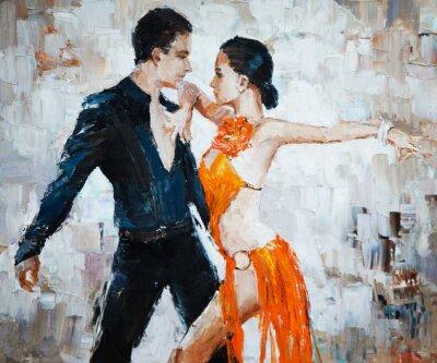 Картина танцоров танго цифровой живописи, танцоров танго