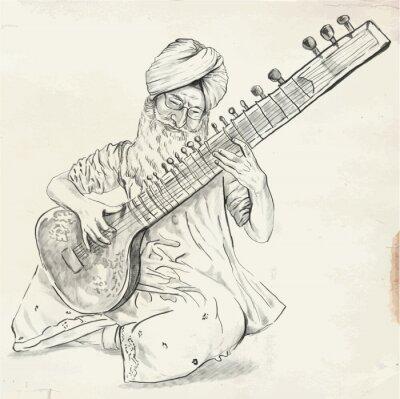 Картина Tanpura Player - vector illustration (converted)