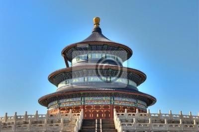 Картина Даосский храм в Китае с голубым небом