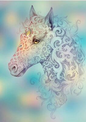 Картина Tattoo, beautiful horse head with a mane