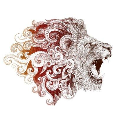 Картина Тату голова ухмыляясь лев