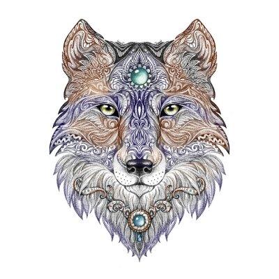 Картина Татуировка Волчья голова дикий хищник