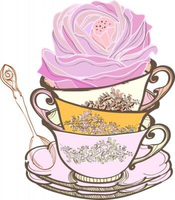 чашка фона с цветком