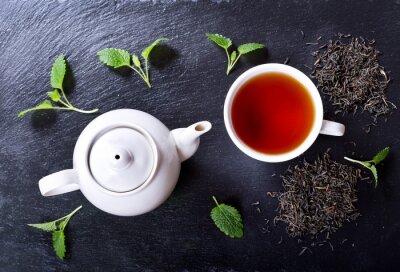 Картина Чайник и чашка чая с мятой