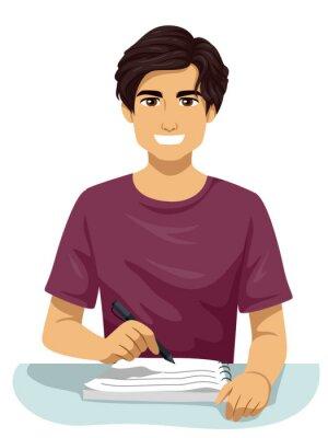 Teen Boy Hispanic Write Notes Illustration