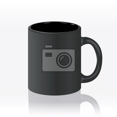 Шаблон керамической чистый черный кружка с матовым эффектом, без яркого блики, изолированных на белом фоне. Пустой бланк для кофе или чая.