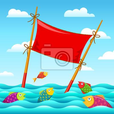 Шаблон суши-ролл постер в пищу палочками на небе и рыбы в море