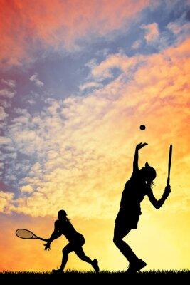 Картина Теннис на закате