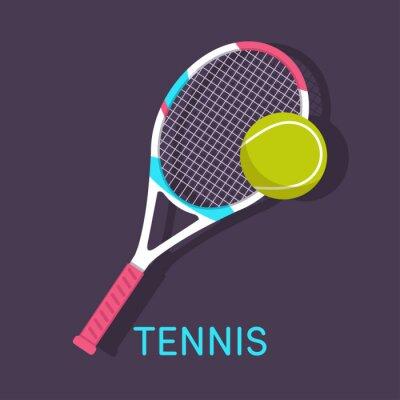 Картина Теннис, ракетка, мяч коричневый фон