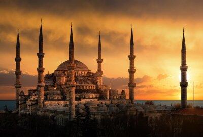Картина Голубая мечеть в Стамбуле во время заката